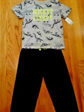 Boys 3 Piece Sleepwear Set - Size 6; Gray Dinosaur Themed Loungewear (Nwt)