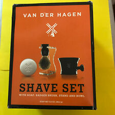 VAN DER HAGEN MEN'S LUXURY BOAR SHAVE SET. With SOAP, BRUSH, STAND, MUG & BLADES