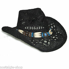 Cowboy Hut Strohhut Tex Mex,Western Hat,Country Mütze Trapper Cap Hawaii schwarz