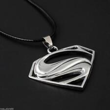 Men Silver Superman Stainless Steel Pendant Jewelry Leather Chain Necklace Cool