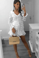 White Dobby Frill Detail Tie Up Front Mini Dress