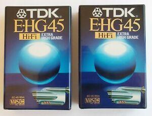 2 x VHS-C TDK E-HG45 Camcorder Cassettes 45min - high quality