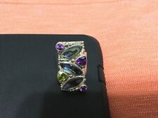 Stunning SAJEN 925 STERLING Faceted Amethyst Peridot RING- SIZE 9!