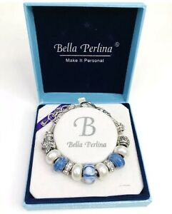 Bella Perlina Charm Bracelet Blue Turquoise White Silver Adjustable 11 Charms