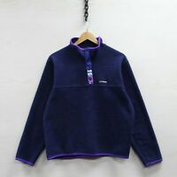 Vintage Louis Garneau 1/4 Button Up Fleece Sweatshirt Size Small Navy Blue 90s