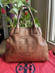 Tory Burch Brown Leather Large perforated T Tote Bag
