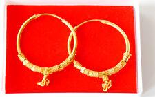 REAL alla ricerca di 22 K Placcato Oro Orecchini MAKARA-Indiano Rotondo Cerchio Stile hc17