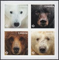 BEARS = Polar = Grizzly = Block of 4 - Right Booklet page Canada 2019 MNH VF