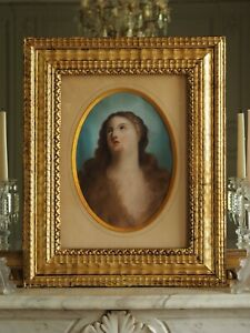 Sublime 19th C French or Italian Madonna Virgin Mary Pastel Drawing Painting