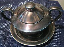 Sterling Silver on Porcelain Sugar pot with lid and plate Approx 4ins tall