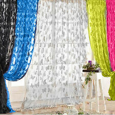 Butterfly Tassel String Door Window Curtain Floral Tulle Voile Drape Panel Sheer