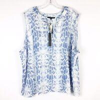 Tahari Blue White Snake Print Linen Tank Top Sleeveless Size 3X Plus