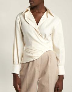 Jacquemus 38 S Sabah Linen Cotton Shirt Cream Ivory V Neck Long Sleeve