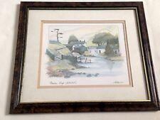 """Mountain Village Watendlath"" Cumbria Signed by Geoffrey Cowton - Mounted Print"