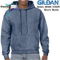 Gildan Heather Sport Dark Navy Hoodie Heavy Blend Basic Hooded Sweat Mens