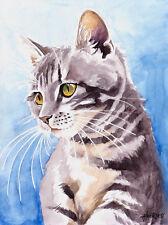 """tigre"", gato, Cat, chat, gato, acuarela original 24x32, Studio-milamas"