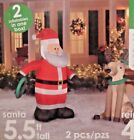 NEW 5.5 FT & 4.5 FT TALL SANTA CLAUS & REINDEER WREATH TOSS INFLATABLE BY GEMMY