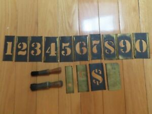 "Vintage 1930's 14 Interlocking+4"" High Brass Stencils+2"" High 0-9+Symbols+Brushe"