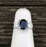 14K WHITE GOLD 3 STONE SAPPHIRE & DIAMOND LADIES RING SIZE 5.5