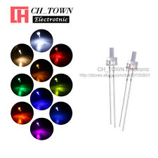 500Pcs 10Lights 2mm Flat Top Water Clear LED Diodes White Red Blue Mix Kits