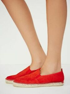 Womens Free People Orange Suede Espadrilles Flats Slip On Shoes Size 10/40
