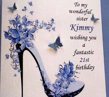 PERSONALISED  HANDMADE BIRTHDAY CARD 18TH 21ST 40th DAUGHTER SISTER FRIEND WIFE
