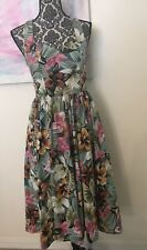 Vintage Decisions Sweetheart Neckline Full Circle Midi Floral Dress Size 4