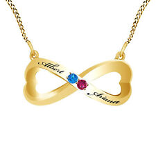 Pink Ruby & Blue Topaz Couple's Infinity Pendant Necklace 14K Yellow Gold Over