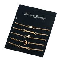Women Fashion Gold Crystal Star Moon Pendant Bangle Chain Bracelet Party Jewelry