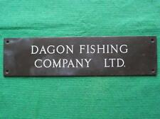 "Genuine Brass Vintage Sign Plaque : Dagon Fishing Company Grimsby 10"" X 2.5"""