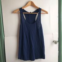 CYNTHIA ROWLEY Navy Blue Burnout Scoop Neck Racerback Pima Cotton Tank Top Small