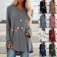Womens Casual T Shirt Long Sleeve Flower Print Crew Neck Tops Loose Blouse Tunic