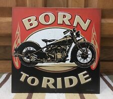 Born To Ride Motorcycles Motor Oil Can Metal Bike Helmet Oil Vintage Look Harley