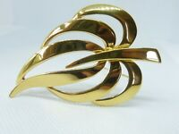 Napier signed vintage gold-tone palm-leaf brooch
