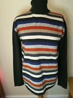 Linea 100% Lambswool Green Blue Cream Orange Roll Neck long sleeve Jumper large