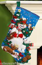 "Bucilla Snow Friends ~ 16"" Felt Christmas Stocking Kit #86438 Snowman, Animals"