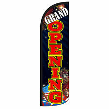Grand Opening Banner Sign Flag Display B Red Windless Swooper Feather 3' Wide