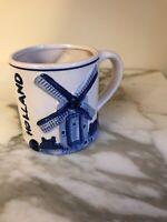 Delft Blue & White Coffee Mug Cup 3D Windmill Holland