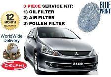 FOR MITSUBISHI GRANDIS 2.4i MiVEC IMP 2003-> OIL AIR POLLEN FILTER SERVICE KIT