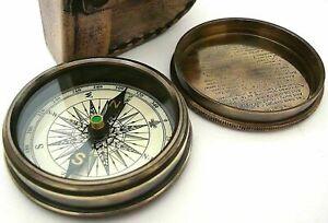 Antique Vintage Nautical Robert Frost Poem Compass-Pocket Compass w Leather Case
