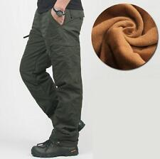 Winter mens fur lined cargo overalls hiking waterproof casual pants trousers new