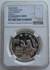 NGC PF70 China 1995 Silk Road Silk Spinner Silver Coin 22g 5 Yuan COA