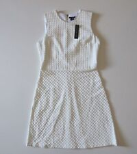 NWT THEORY Raneid K in White Contextual Textured Sleeveless Shift Dress 10 $345