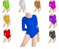 Kids Girls Shiny FOIL Dance Stretchy Gym Ballet Full Sleeve Leotard Top