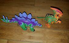 2004 Mattel Fisher Price Stegosaurus Dinosaur W/Moving Tail & Orange Small Dino