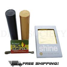 Shine 2 Sheet Pack 24K Karat Gold Rolling Papers Size 1 1/4 - Plus Bonus Gifts!