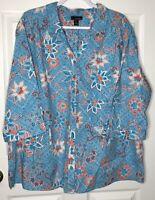 Erika 2X Blue Floral Button Front Shirt Top Blouse Cotton Rayon NWOT