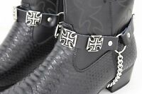 Men Western Boot Silver Chain Black Leather 2 Straps Bracelet Cross Charms Biker