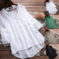 Plus Size Women Cotton Linen Plain Blouse Tops Ladies Long Sleeve Casual T-Shirt