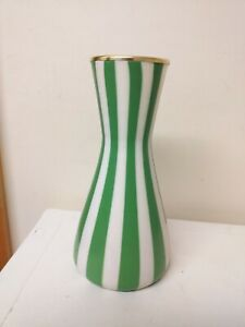 UNUSUAL...VASE....GREEN AND WHITE STRIPES...TYPE OF PLASTIC..REALLY NICE...VASE